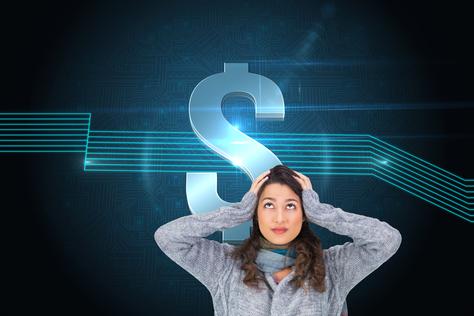 Angst vor finanzieller Unabhängigkeit - Frau in Panik mit Dollarzeichen