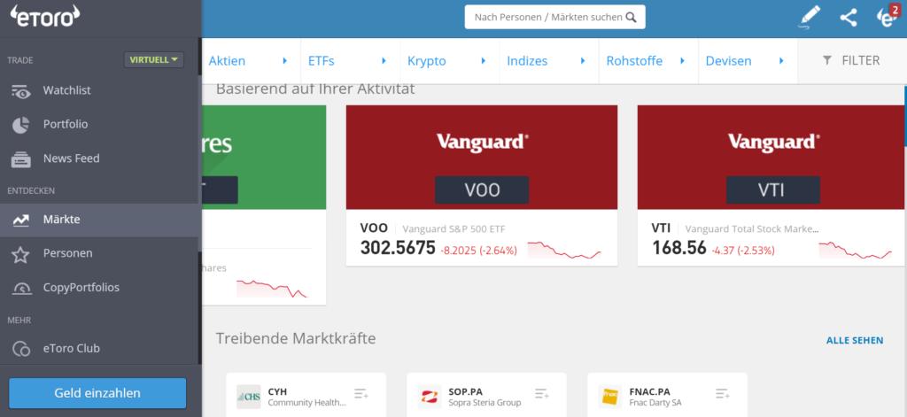 Märkte auswählen bei eToro