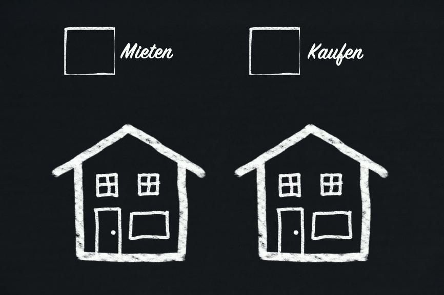 Tafel für eine Entscheidung - Eigenheim oder Mietwohnung